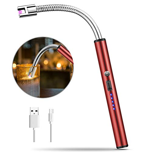 MOSUO Lichtbogen Feuerzeug, Elektro Feuerzeug USB Elektronisch Feuerzeug, Stabfeuerzeug USB Aufladbares, Winddicht Flammloses Kerzenanzünder für Küche, Kerzen, Feuerwerk,Gasherd