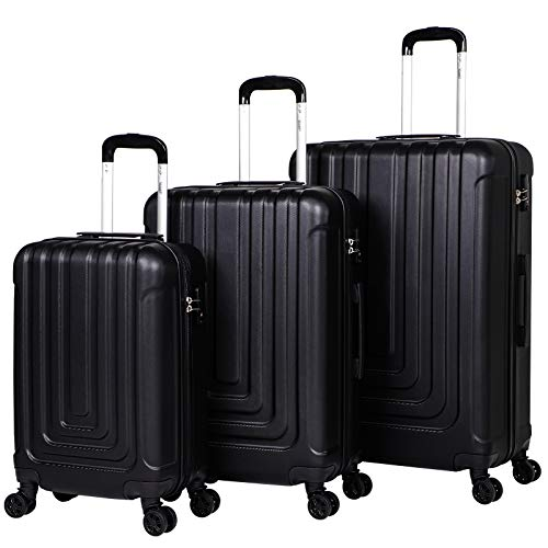 Stream 3 Piece Luggage Set with TSA Lock-Lightweight Hardside Spinner Luggage with 4 Double Spinner Wheels Travel Trolley Suitcase Set, 20' Cabin + 24' + 28' Hold Check in Luggage (Black)