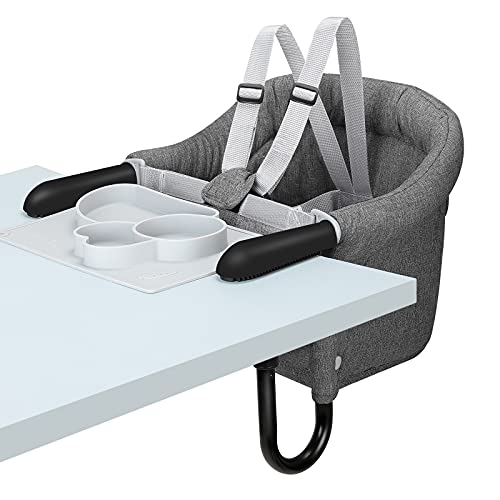 Hook On Chair with Tray, Fold-Flat Storage and Tight Fixing Clip on High Chair, Portable Baby Feeding Seat, High Chair for Home and Travel (Grey)
