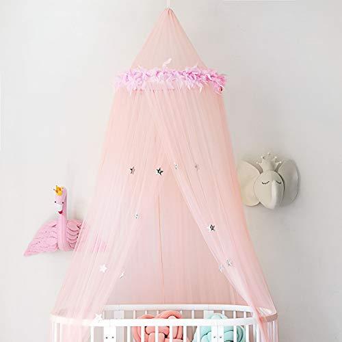 Romantic Ins Federstern dekorativer Bettvorhang Prinzessin Zimmer Moskitonetz für Doppelbett Einzeltür Kuppel Hängend Bettvorhang (Farbe: Rosa, Größe: 240 x 60 cm)