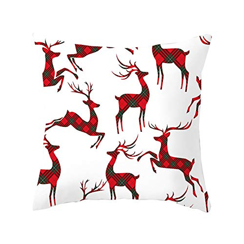 Zimmuy 1Pc Navidad Funda de Almohada Copo de Nieve Dibujo Navidad Decoración Clasico Navidad Funda Cojine Rojo y Blanco (E)