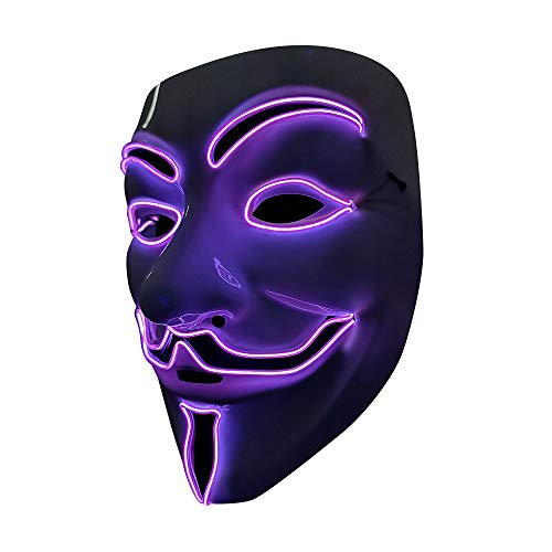 SOUTHSKY LED Mascara Disfraz de Luces Neon Led Brillante V Vendetta Mask EL Wire Light Up 3 Modos For Halloween Costume Cosplay Party (V-Purple)