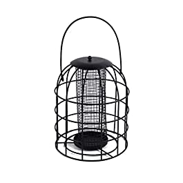 Leikance Metal Bird Feeder,Iron Cage Bird Food Dispenser Hanging Feeding Column