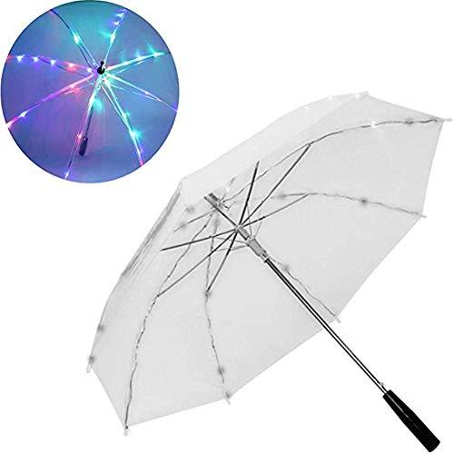 FMC LED-Licht Transparent Unbrella, Glänzende Regenschirme Partei Aktivität Props mit Taschenlampe Langen Griff Regenschirme Geschenk für Kinder