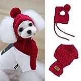 Yeyll Bufanda y sombrero de punto para cachorros y perros de invierno, conjunto de bufanda y gorro de punto, calentador de cuello y orejas para mascotas