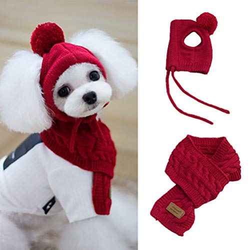 Yeyll Bufanda y sombrero de punto para cachorros y perros de invierno,...
