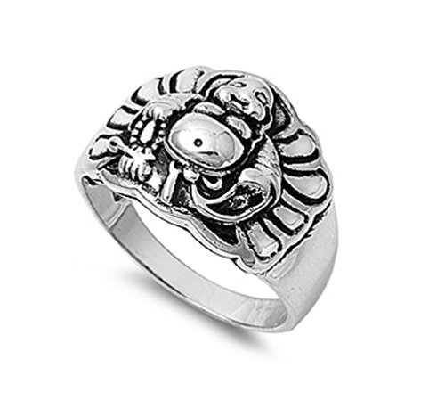 CloseoutWarehouse Sterling Silver Buddha Flair Ring Size 9
