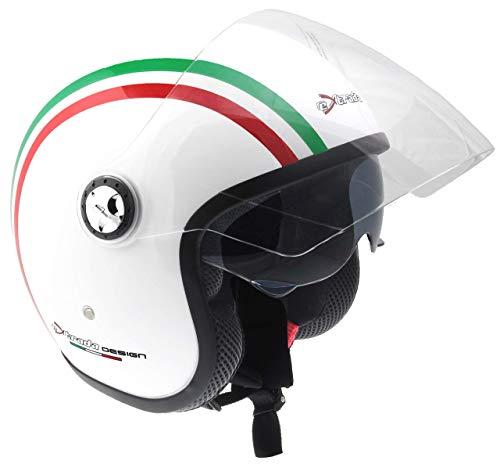 Extrada 0386 Casco Jet Doppia Visiera, Bianco/Italy Stripes, XL