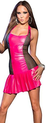 Firstclass Trendstore Minikleid mit Faltenrock Gr. 34 36 38, ärmellos Clubwear Wetlook Party Kleid (900090 pink M/L K726)