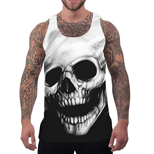 Summer Tank Top for Men Funny 3D Skull Print Sleeveless Shirts Fashion Graphic Workout Fitness Vest (XL, White)