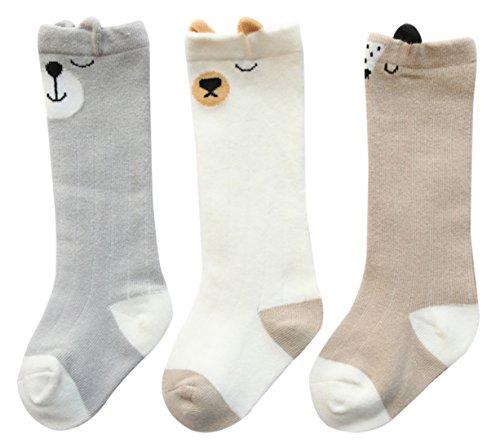 FEOYA 3 Paires Chaussettes Hautes en Coton Bébé Enfant Unisexe Chaussettes de Tube Motif Dessin Mignon Imprimé pour 1-3 Ans