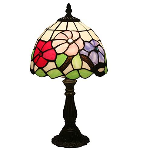 Lámpara de Mesa de Estilo Barroco Lámpara de Mesa Tiffany Lámpara de Cristal manchada para estudiar Sala de Estar Barras de habitación Lámpara de Lectura Vintage 8 Pulgada