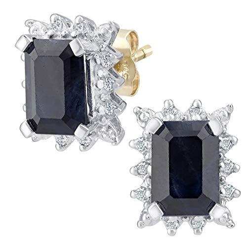 Naava Pendientes para Mujer de Oro Amarillo 9K con 22 Diamantes y Zafiros