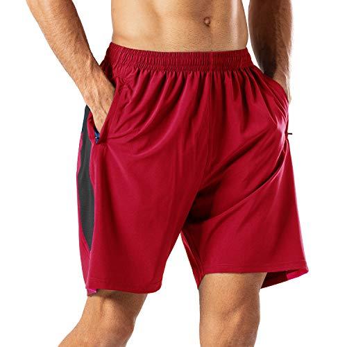 Herren Sport Shorts Schnell Trocknend Kurze Hose mit Reißverschlusstasch(Schwarz,XXL)