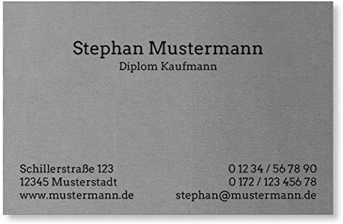 100 Visitenkarten, Feinpapier mit metallisierter Oberfläche, silber