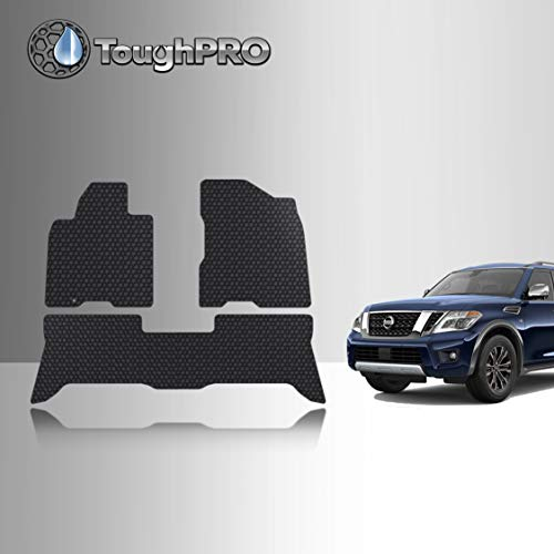 TOUGHPRO Floor Mats Accessories Set (Front Row + 2nd Row) Compatible with Nissan Armada All Weather (Made in USA) Black Rubber 2006 2007 2008 2009 2010 2011 2012 2013 2014 2015