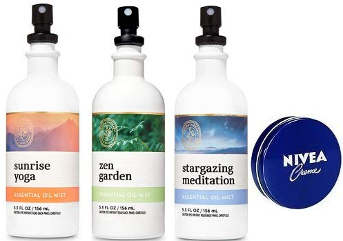 Bath and Body Works 3 Pack Aromatherapy Essential Oil Mist 5.3 Oz. Travel Size Body Cream 1 Oz.