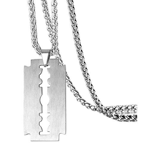 "Fusamk Punk Rock Stainless Steel Razor Blade Tag Pendant 22"" Wheat Chain Necklace(White)"