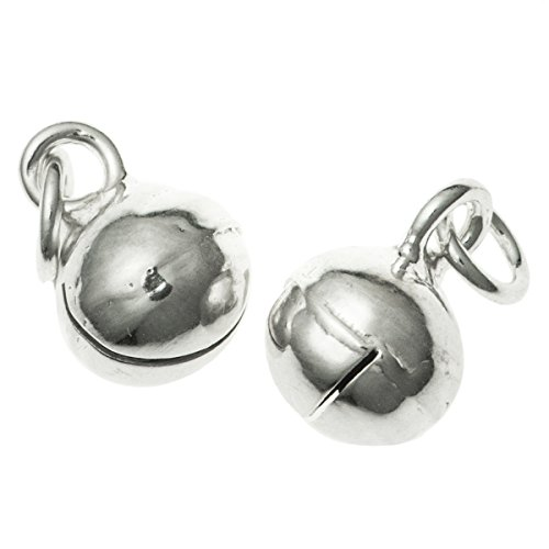 Dreambell 4 pcs 925 Sterling Silver 6mm Christmas Jingle Bell Dangle Charm with Jump Ring 925 Sterling Silver Bells