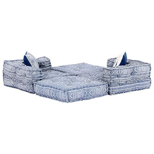 Tidyard - Sofá Modular de 2 plazas, Incluye 2 Cojines, sofá Chaise Longue con diseño de Rayas, 140 x 70 x 56 cm, Tejido de Patchwork, Color Azul