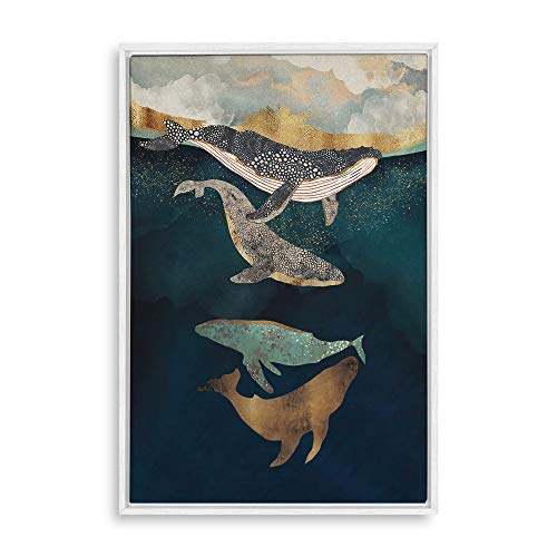 SIGNFORD Framed Canvas Home Artwork Decoration Whale Fall Canvas Wall Art for Living Room, Bedroom - 16x24 inches