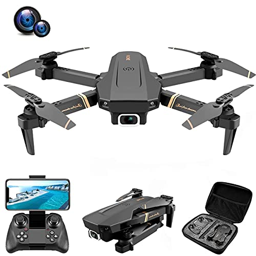 JJDSN Drone, Drone con cámara 4K HD para Adultos y niños, Quadcopter Plegable con Video en Vivo FPV de Gran Angular, trayectoria de Vuelo, Control de Aplicaciones, Flujo óptico, retención de altit