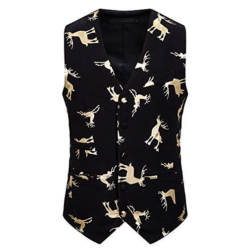 Story of life Kerstvest mannen Deer Hot Stamping vest, mannelijk banket business pak Gilet casual blazer vesten tops