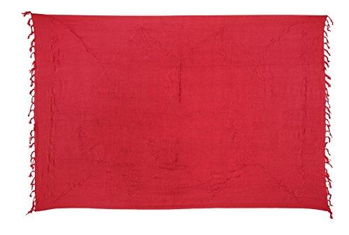 Kascha Sarong Pareo Wickelrock Strandtuch Tuch Wickeltuch Handtuch - Blickdicht - ca. 170cm x 110cm - Rot Einfarbig mit Stickerei Handgefertigt inkl. Kokos Schnalle in Schmetterlingform
