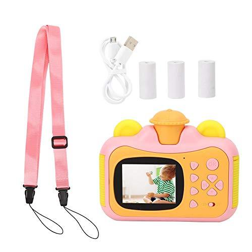 Lantro JS Enfants 4-11 Produits de Bricolage pour Appareil Photo, Cadeau de Bricolage Anti-Goutte Silicone numérique Sangle Durable écran coloré caméra d'impression instantanée,(Pink)