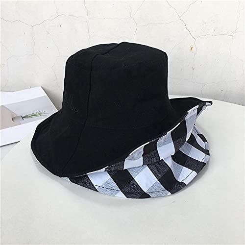 Versiones simples del sombrero de pescador de doble cara femenino coreano literario primavera y verano bolso grande al aire libre sunside sun tide-black_Code