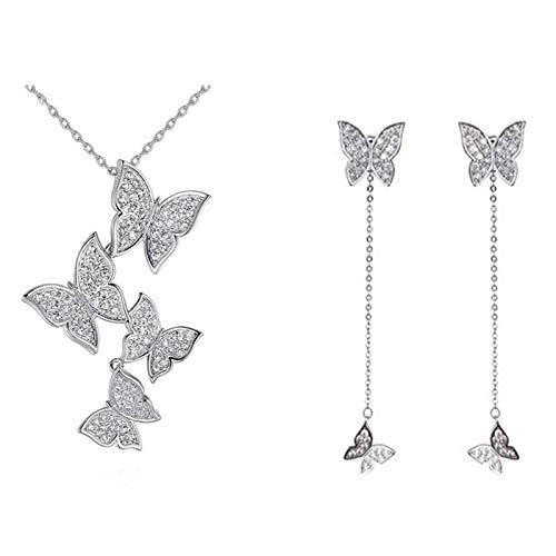 weichuang Joyería para mujer de plata de ley 925 estilo coreano vintage mariposa conjuntos de joyería largos pendientes de borla para mujer