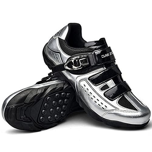 ASORT Calzado de Ciclismo de Carretera para Hombre Calzado de Ciclismo Calzado de Bicicleta de Montaña MTB - para Calzado de Bicicleta de Interior,Silver-39EU