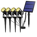 Solarleuchte Garten, T-SUN 4 Stück LED Gartenbeleuchtung Solar, Gartenstrahler Solar, 3000K Warmweiß, Wasserdicht LED Solarlampe, Solar Außenleuchte, Gartenlampe, Wegeleuchte, Spotbeleuchtung.