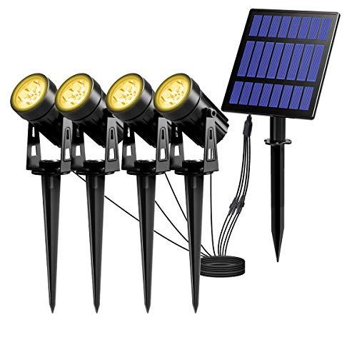 T-SUN Faretti Solari, Impermeabile IP65 LED Faretto per Giardino, Regolabile Lampade Solari LED da Esterno, Faretto Solare per Giardino, Backyards, Prato, Parete, Bianco Caldo 3000K, 4 Pezzi.