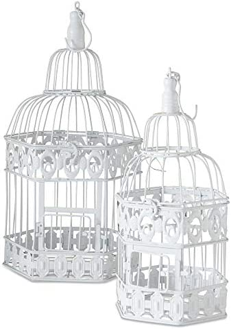 WHW Whole House Worlds Cape Cod Chic White Bird Cages Set of 2 White Metal 15 5 and 19 Inches product image