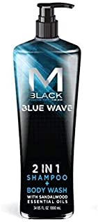 M.Black Signature Series 2 In 1 Shampoo + Body Wash With Sandalwood Essential Oils - Blue Wave