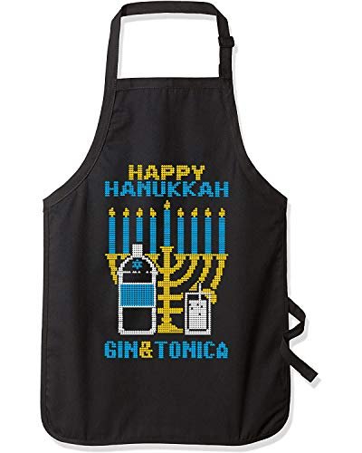 Happy Hanukkah Gin & Tonica Hanukkah Ugly Christmas Graphic Apron, Black, One Size