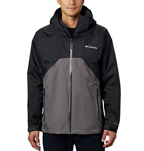 Columbia Men's Rain Scape Rain Jacket, Black/City Grey, Large