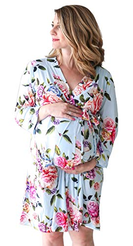 Posh Peanut Mommy Robe for Maternity, Labor Delivery Soft Nursing Lounge Wear, Viscose from Bamboo (XX-Large) - Country Rose