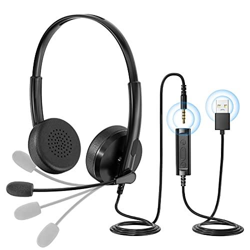 Auriculares USB para PC con Funciones de Control de Audio y Micrófono, Cascos Estéreo para Llamadas de Red, Llamadas de Computadora Remota en Oficinas Comerciales