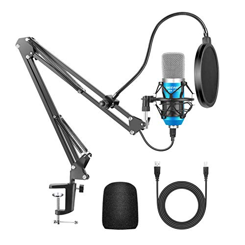 Neewer USB Microphone Kit for Windows and Mac, Includes Suspension Scissor Arm Stand, Shock Mount, Pop Filter, USB Cable and Table Mounting Clamp for Broadcasting and Sound Recording (Blue & Silver)