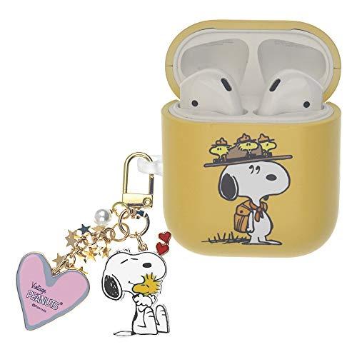 Peanuts Snoopy ピーナッツ スヌーピー AirPods と互換性があります ケース スヌーピー キーホルダー エアーポッズ用ケース 硬い スリム ハード カバー (キャンプ スヌーピー 帽子) [並行輸入品]