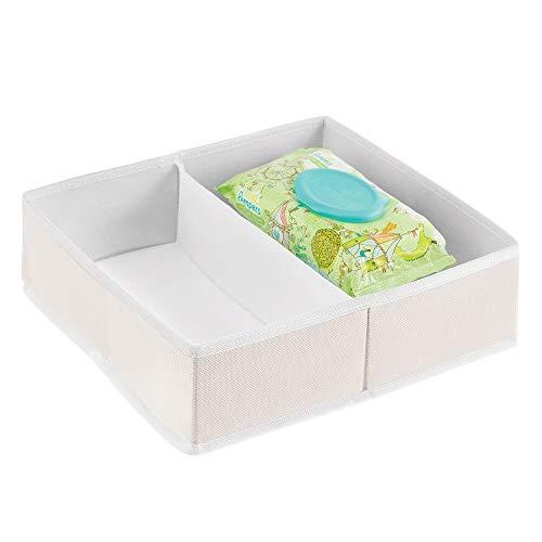 mDesign Organizador de cajones de Tela para Habitaciones Infantiles – Cajas para almacenar Ropa, Cosas de bebé, etc. – Cesta organizadora para armarios con 2 Compartimentos – Color Crema/Blanc