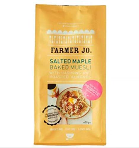 Farmer Jo Salted Maple Baked Muesli 400g -Farmer Jo Salted Maple Baked Muesli is a Blend of Cashews and Roasted Almonds. It is Made by The Finest Natural Ingredients