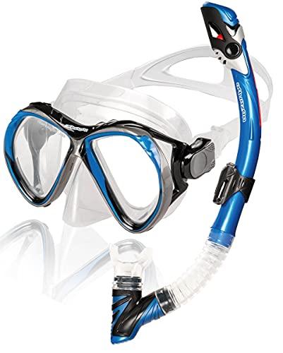AQUAZON Barcelona Hochwertiges Schnorchelset, Tauchset, Schwimmset, Schnorchelbrille mit Tempered Glas, Schnorchel mit Dry top, Maske Silikon für Erwachsene, Senior, Farbe:blau Junior