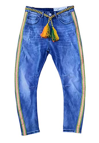Wiya Damen Stretch Jeans Hose Reißverschluss Freizeithose DY569 (L)