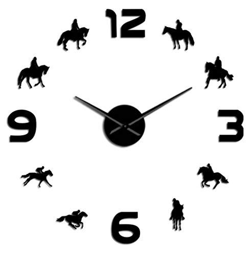 Carreras de Caballos DIY Reloj de Pared Gigante Caballos de Carreras Silueta de Montar Arte de la Pared Decoración Sin Marco Efecto Espejo Reloj de Pared Regalo para Jockey 27 Pulgadas