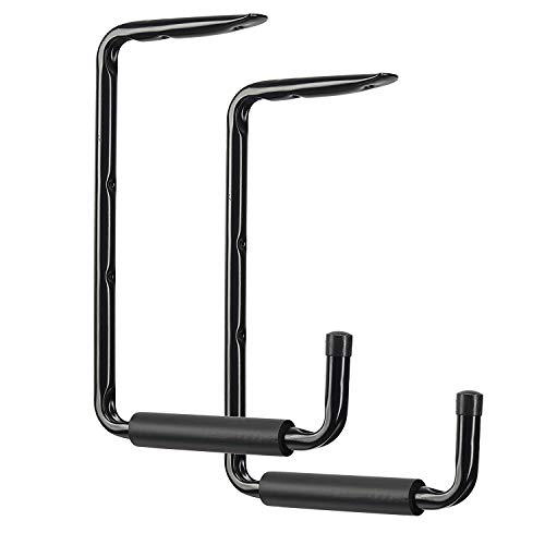 Wall Ceiling Mounted Garage Storage Hooks, 13.4'' x 9.4'' Heavy Duty Large Utility Hangers Organizer for Ladder,Tools, Garden Hose and Bike(2 Pack, Black)