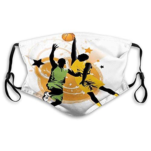 Divertido carbón activado shiled, imagen de dos jugadores de baloncesto en un juego climatizado, estrellas de anillos, decoraciones faciales para adolescentes y niños(s)-color3-Medium