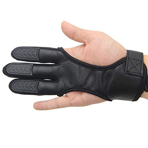 LIOOBO 3 Finger Handschuhe Bogenschießen Handschuhe Leder Handschuhe Fingerschutz (Größe XL Schwarz)